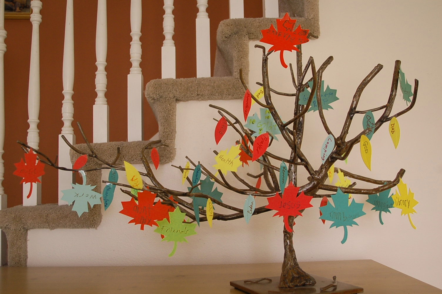 Thanksgiving tree a thanksgiving kid craft bell web for Thankful tree craft for kids