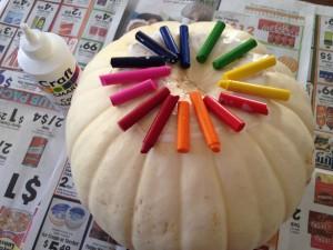 Melted Crayon Pumpkin Step 2